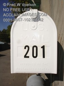 Clip Art Stock Photo of a White Mailbox, Head On