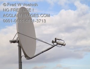 Clip Art Stock Photo of a Satellite Dish With Sky and Clouds in Background