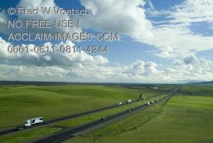 Clip Art Stock Photo of Traffic on Interstate Highway in Central California