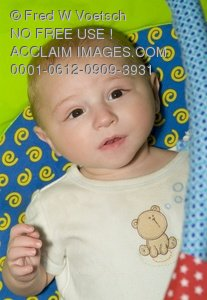 Clip Art Stock Photo of 6 Month Old Baby Boy in His Crib