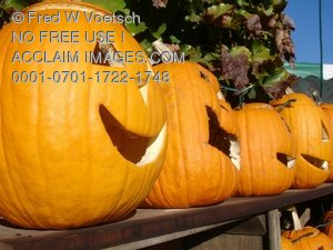 Clip Art Stock Photo of Carved Halloween Pumpkins