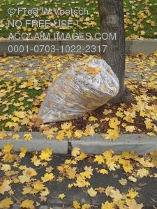 Clip Art Stock Photo of a Bag of Leaves on a Curb