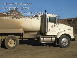 Stock Photo Clip Art of a Dump Truck Used in a Gravel Quarry
