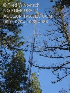 Stock Photo of A Communications Tower or Radio Tower at the Top of A Hill or Mountain