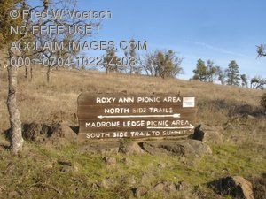 Stock Photo of a Sign at Prescott Roxy Ann Park
