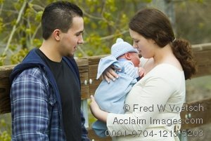 Mother, Father and Newborn Baby Taking a Walk As a Family for the First Time in This Clipart Stock Photo
