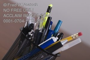 Stock Photograph of a Variety of Pens and Pencils in Pen