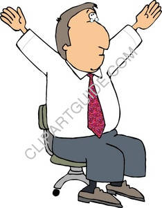 Businessman Sitting With Arms Stretched Up