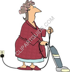 Woman Using a Vacuum - Vacuuming
