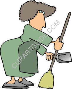 Woman Janitor Using a Broom and Dustpan to Clean