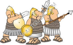 Three Roman Soldiers with Swords and Shields.