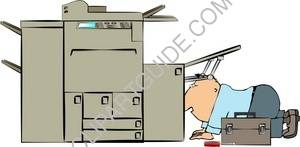 Man Working On A Copy Machine