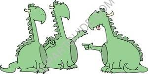 Three Green Dragons Arguing