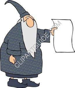 Old Wizard Holding Blank  Paper