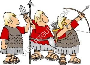 Three Comical Roman Soldiers