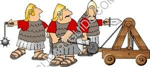 Three Roman Soldiers With a Catapult