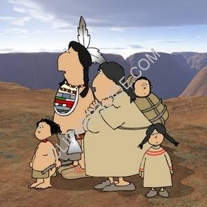 American Indian Family With A Desert Background
