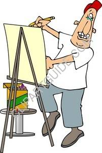 Man Drawing on an Easel