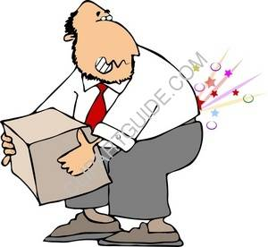 Man With Back Pain Lifting A Box