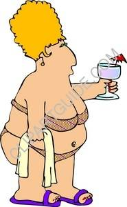 Chubby Woman Wearing A Bikini And Holding A Drink