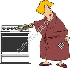 Woman In A Robe Frying Eggs