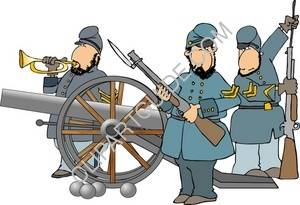 American Civil War Era Soldiers With Cannon