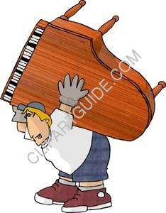 Man Carrying A Piano On His Back