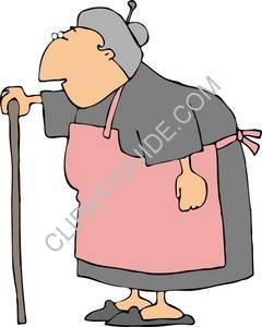 Old Woman Using A Cane