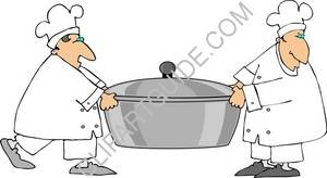 Two Chefs Carrying A Large Pot