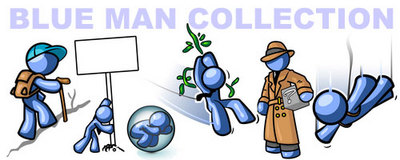 Blue Man Clipart Banner Ad from IllustrationsOf.com