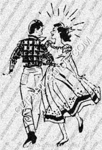 1950s vintage clip art of a square dancing couple