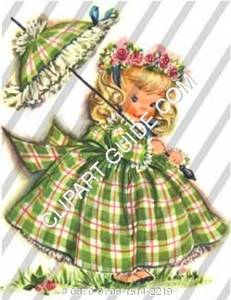 1950s vintage clip art of a little girl in a green plaid dress/parasol.