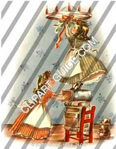 1940s vintage clip art of two little girls decorating.