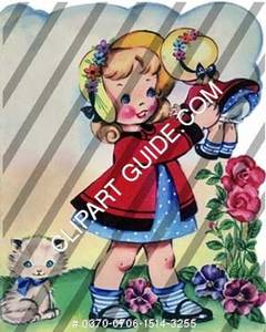 1950s vintage clip art of a little girl with a doll.