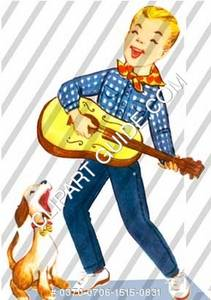1950s vintage clip art of a young boy singing with his guitar and dog.