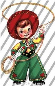 1950s vintage clip art of a little cowboy with lasso.