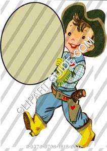 1950s vintage clip art of a little boy in cowboy outfit