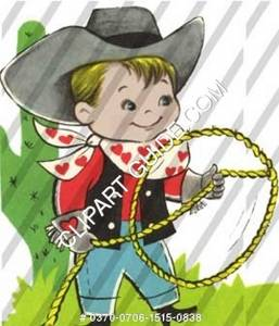 1950s vintage clip art of a little boy with cowboy outfit.