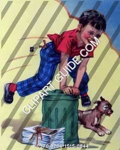1950s vintage clip art of a boy jumping over a trash can