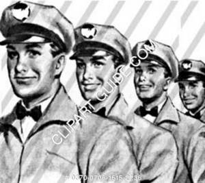 1950s vintage image of men in uniform.