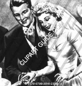 1940s vintage image of a bride & groom