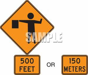 Clipart Of A 500 Feet 150 Meters Detour Sign