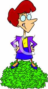 Businesswoman Standing On a Pile of Cash/Money