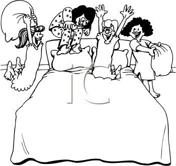 Royalty Free Clipart Image: Teen Girls Having a Pajama Party/Sleep ...