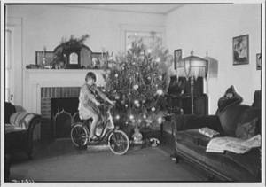 Free Picture of A Living Room Decorated for Christmas, 1930