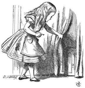 Free Picture of Alice Looking for the Door