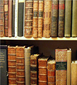 Free Picture of a Shelf Filled with Old Books