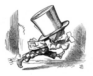 Free Picture of the Mad Hatter Leaving the Tea Party
