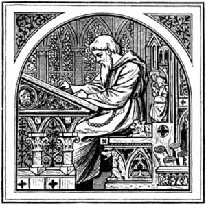 Free Picture of a Religious Man Seated at a Writing Desk