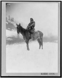 Free Photo of an American Indian On a Horse In the Snow